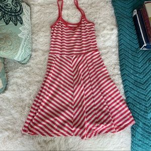 Pink and white striped baby doll dress